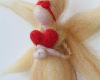 "Yellow fairy and her heart ""Kalon Telia"", love, carded wool, Waldorf Steiner"