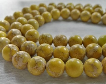 1 Full Strand 6mm 8mm 10mm Natural Sea Sediment Jasper Beads ,Yellow Round Natural Spacer Beads,Impression Jasper Beads ,Imperial Impression