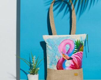 Flamingo Handpainted Summer Tote Bag | Handmade from the Philippines