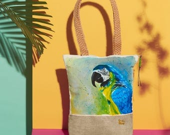 Blue and Gold Macaw Handpainted Summer Tote Bag | Handmade from the Philippines