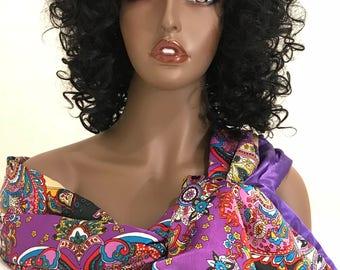 Purple paisley print long satin reversible scarf, women's scarves, purple scarf, women's gifts
