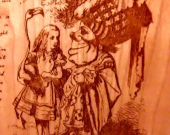 """Alice's Adventures in Wonderland Engraved Book Page:  Chapter 9 """"The Mock Turtle's Story"""",  Solid Cherry, Lewis Carroll, Sir John Tenniel"""