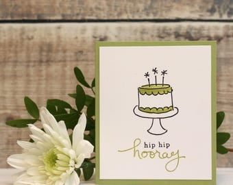 """Hip Hip Hooray Hand Stamped Birthday Card in Green, Small Card, Size A7 (4x3"""")"""