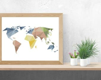 World Map Cross Stitch Pattern PDF/ geometric globe needlepoint counted chart silhouette/ modern map wall decor/ cross stitch world pattern