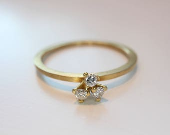 Gold delicate with 3 diamond stack ring engagement Stackingring brilliant ring