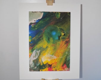Mounted A3 Gilcée limited edition print of acrylic painting: the lunatic is on the grass