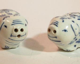 Vintage Pigs Delft Hand Painted Salt & Pepper Shakers - Blue - White w/ Flowers