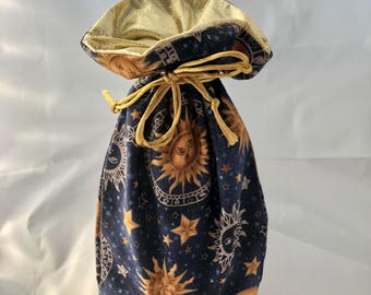 Small Gift Bag - Celestials III - Navy/Gold - Limited Edition Fabric - Fully Lined with Gold Lamé (GBS-63-0158-S-LR2)