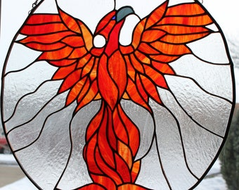 Rising Phoenix Stained Glass
