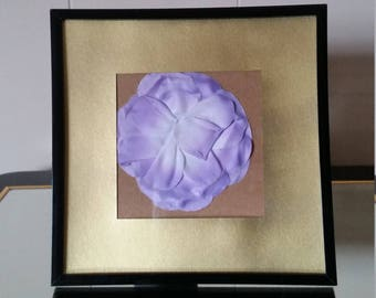 Purple Flower Picture Frame with Gold Border