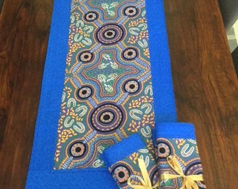 Aboriginal print table runner and matching placemats.