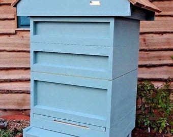 BS National Beehive with 2 supers and cedar shingle Gabled Roof