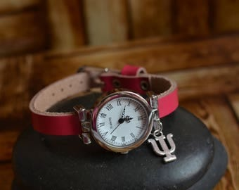 Pink Psi Watch, Ladies Watch, Math Jewellery, Womens Watch, Pink Leather Watch, Leather Watch, Birthday Gift, Minimalist Watch, Mothers Day