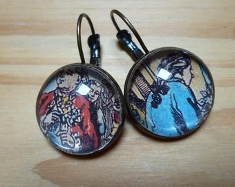 Upcycled paper and glass and bronze earrings '