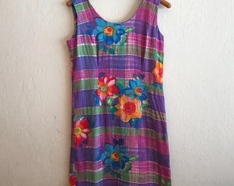 vintage rayon shift dress by Jams World, bright floral design! 7