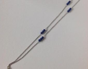 Long Blue Beach Glass Necklace