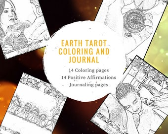 14 Tarot Earth Suite Coloring Sheets Affirmations Journal Modern Pages Book Adult Meditative Learn Study Journaling Positive