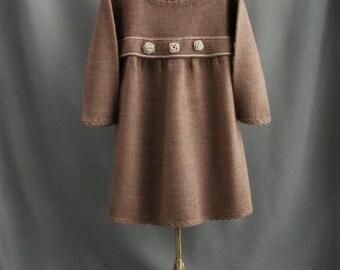 Warm girl's dress| 86-92cm| brown knitted wool blend dress