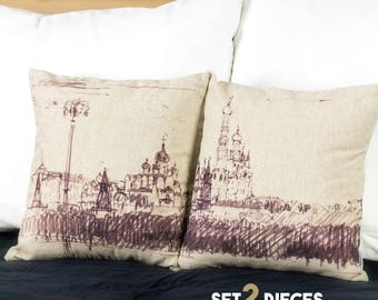"Set of 2 cushions, Moscow Kremlin Russia drawing, 16"" / 40  cm size - Limited Edition of 100"