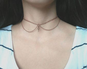 Chain Choker, Key Pendant Chain Choker, Copper Colored Chain Choker, The Key To My Heart Necklace, Romantic Necklace, Valentine's Day Gift