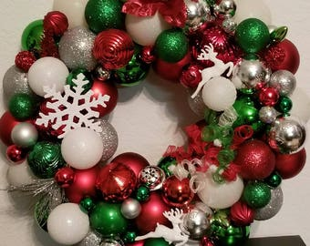 Red and Green Ornament Wreath