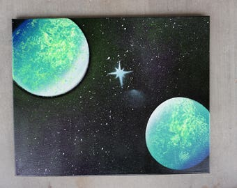 Spray Paint Art Galaxy Planets UV Black-light Canvas