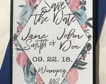 Pink and Blue Floral Save the Date