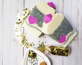 Heart Throb - Heart Soap -  Love Soap - Valentines day gift for her - Coconut Oil Soap - Coconut Milk- Glow in the dark Cold Process present