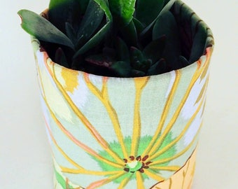 Fabric Plant Pot - Kaffe Fassett Jade Lotus Leaf Print | Textile Geofabric Planter | Beautiful Gift for Gardeners | Small Size