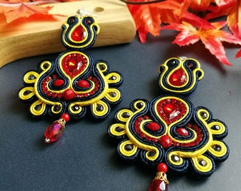 Elegant Red Ruby Crystal Soutache Earrings Handcraft Statement Earrings Ethnic Boho Chic Wedding Earrings Blue and Yellow