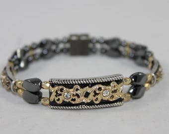 Gold & Black Filigree Bar High Quality Magnetic Bracelet