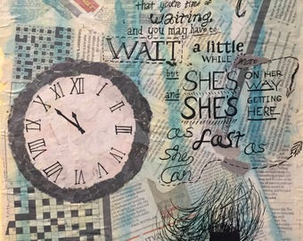 "As Fast As She Can - 11x14"" mixed media collage"
