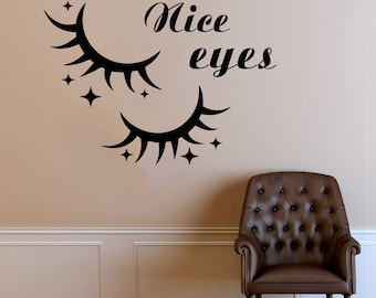 Wall Decal Window Sticker Beauty Salon Woman Face Eyelashes Lashes Eyebrows Brows t653