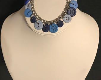 Denim Blues Button Bracelet