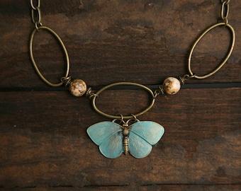 Vintage Butterfly Necklace Brass Assemblage Statement OOAK