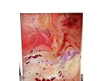 "Original Abstract Acrylic Fluid Art Painting on 8"" x 10"" Canvas - Red Burgundy Orange Purple"