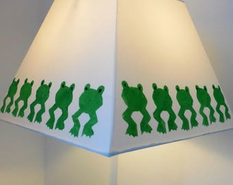Frog Print, hand printed, Lampshade, green and white