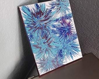Purple blue star burst acrylic painting, one of a kind abstract painting for home or office, stretched canvas, original art, small painting