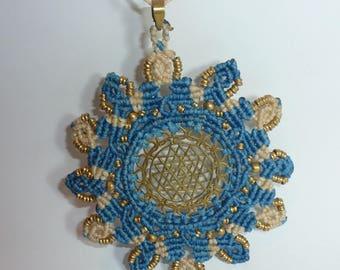Handmade Macrame Brass Mandela Necklace