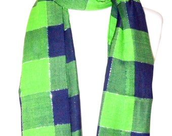 Navy Blue and Green Plaid Lurex soft rayon  scarf