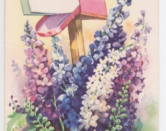 Vintage 1940s unused note card with mailbox and flowers -- a Handi-Note by Artistic Cards