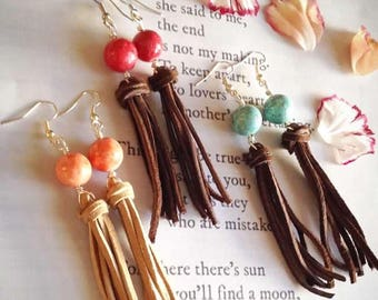 Suede Tassle with Stones dangle Earring