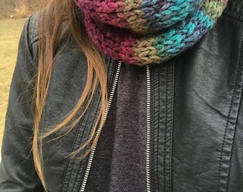 Maroon/Blue/Green Multi Color Fitted Knit Cowl