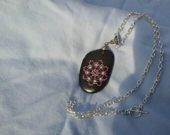 Cranberry mandala river rock necklace