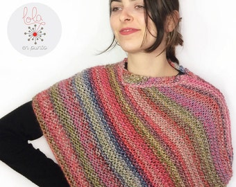 Knitted poncho / Poncho / Colorful striped poncho / Wool Poncho / Poncho de punto / Crochet / Knitting shawl / Casual