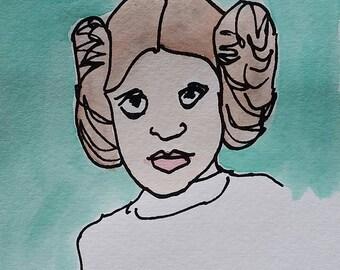 Princess Leia Print (Brown Hair)