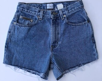"High Waisted Calvin Klein Jean Shorts Vintage Denim Size 2 26"" Waist"