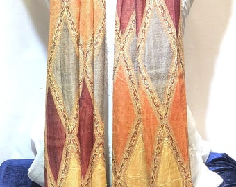 Indian rajastani printed rhombus shaped embroidered stoles
