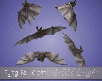 Animal Clip Art | Flying Bats | 3D Clip Art | Scrapbooking | Digital Design Resource