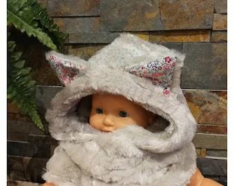 Furry cat/bear hooded cowl